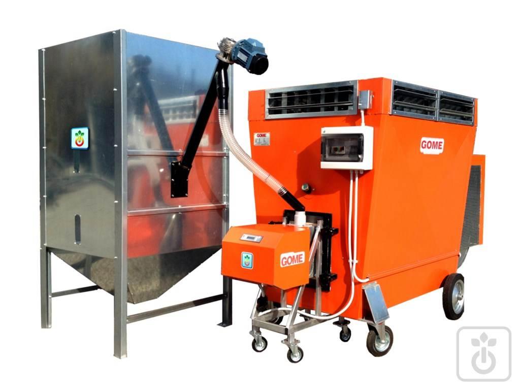 Generatore di aria calda a pellet, gusci, cippatino per riscaldamento